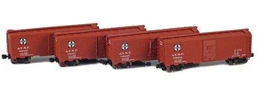 AZL 914300-1 ATSF 40 AAR Boxcar | 4-Car Set