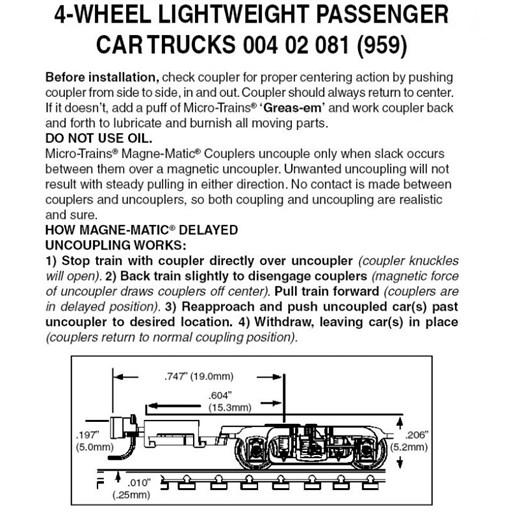 MICRO-TRAINS 004 02 081 - 4-wheel passenger car tr
